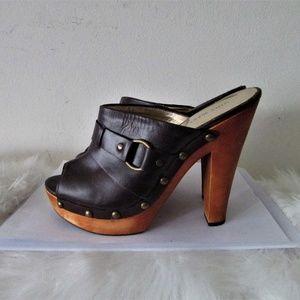Nine West PAOLOU4 leather platform brown sandal 8M